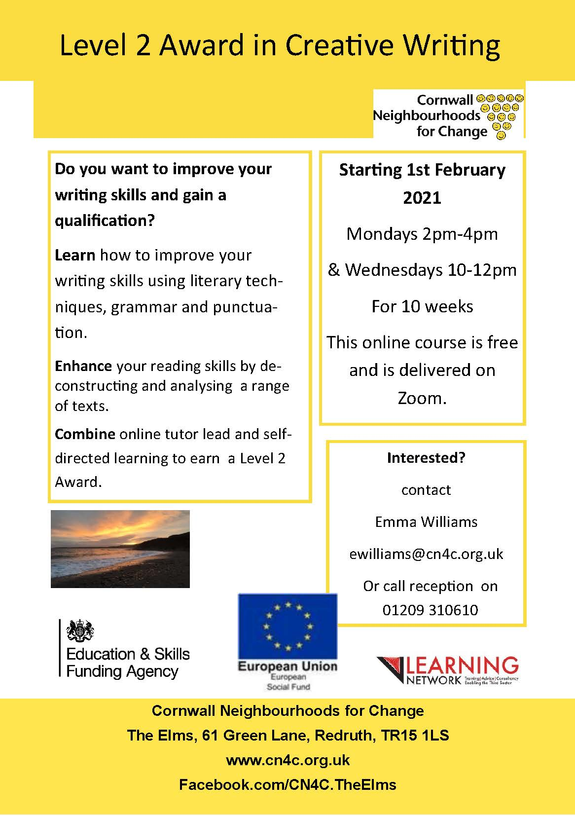 Creartive Writing Level 2 Award Jan 2021