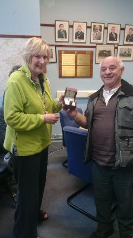 Presentation to Mr Dave Summers by Mayor of Camborne - Councillor Mrs Val Dalley